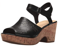 Clarks Women's Maritsa Nila Black Leather Wedge Sandal 26132121