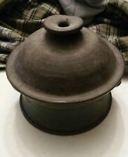 020 Vintage Brown Stoneware Dutch Oven With lid and Handles Signed Pot R. Deim?