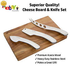 Stylish Cheese Knife Set with Wooden board by Montaig - Premium Luxury Stainless
