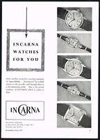 1950s Original Vintage 1957 Incarna Swiss Watch Mid Century Photo Print Ad