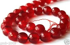"""10mm Natural Faceted Red Jade Ruby Beads Round Gemstone Loose Beads 15""""AAA"""