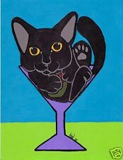 11x14 BLACK CAT MARTINI Art PRINT of Painting by VERN