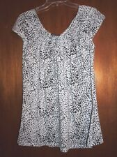 New Ava & Grace Top Black White Animal Print Front Elastic Neck Gathered Size S