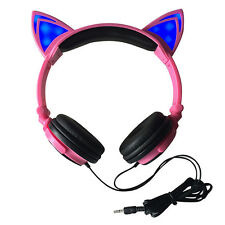 Foldable Flashing Pink Cat Ear Headphones with LED Light