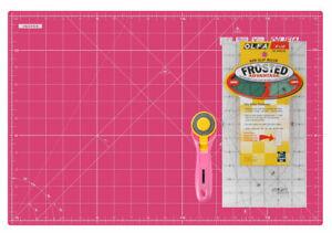 """Olfa Pink Set, 12x18"""" Self Healing Mat, 6x12"""" Non-Slip Ruler, 45MM Rotary Cutter"""