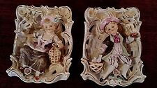 1950's Ucagco Japan Ceramic Wall Pockets Colonial Boy & Girl Reticulated Frame