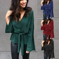 Loose Long Sleeve Ladies V Neck T-Shirt Womens Pullover Shirt Blouse Casual Top