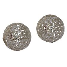 10mm Mesh Hollow Beads Sterling Silver 43531 (2) Round 3.2mm Large Hole