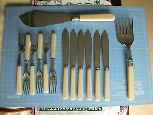 Vintage James Ryals Fish Knives & Forks Table Set & Servers Silver Plated c1920
