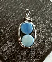 Silver Oval Turquoise Shell Handmade Filigree Pendant New! ~EugeniaM Designs~