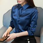 Womens Satin Faux Silk Wet Look Top Blouse Lady Long Sleeve Collared Plain Shirt