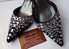 Designer Rebeca Sanver 7 / 40  Black Velvet suede Diamante Mid heel Pointed wide