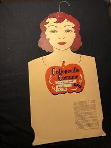 Collegeville Costume Cardboard Halloween Store Display Form & Label Pumpkin
