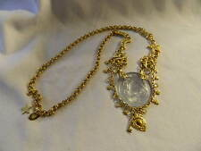 KIRKS FOLLY Aurora Borealis Crystal Carved Glass DREAM ANGEL Cameo Necklace