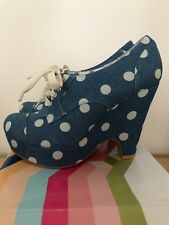 Brand New With Box Office Denim Blue Polka Dot Lace Up Canvas Shoes Size 4