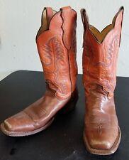 Justin Womens Cowboy Boots Size 8.5 B L2659 Tan & Orange Leather