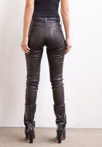 riccovero Real Stretch Leather skinny trousers Uk 10 Black Rrp £350 jeans