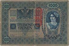 BANCONOTA 1000 CORONE WIEN AUSTRIA UNGHERIA TAUSEND KRONEN SOP.VERICALE  Reich