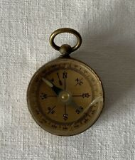 Vintage Working Miniature Brass Stesco Compass with Glass Top