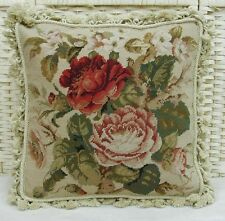 "16"" Square Roses Handmade Wool Needlepoint Cushion/Pillow Cover Free Shipping"
