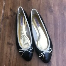 TED BAKER  Black & Cream  Patent IVEEY Ballet Pumps Flats Shoes - 39/6 Small Fit