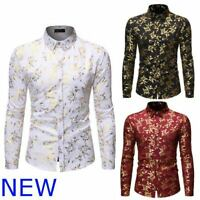 Luxury Top Shirt Dress Shirts Slim Fit Long Sleeve Stylish Floral Mens Casual