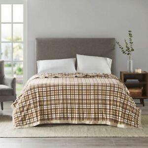 Luxury Tan Plaid Micro Fleece Year Round Blanket w/Satin Trim - ALL SIZES