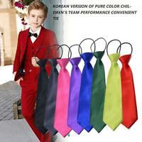 Satin Elastic Neck Tie For Children Boys School Uniform Wedding Page Prom P F9T7