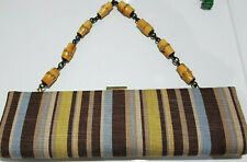 Bamboo Handle Evening party Clutch Bag brown blue lime  stripe by Dune rare find