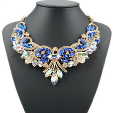 Charm Rhinestone Crystal Chunky Statement Bib Pendant Chain Choker Necklace Rduj Blue