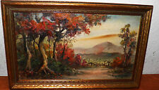 "Antique Oil on Board Landscape Listed Artist Eugene La Foret 9x14"" Framed $20off"