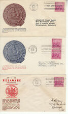 FDC'S(3) #836 DELAWARE TERCENTENARY 1-UNKNOWN(RED/BROWN) &2 GRANDY(GRAY& BROWN)