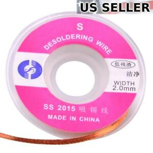 2.0mm Desoldering Braid Solder Remover Pure Copper Wick - Low Residue 1m/3ft