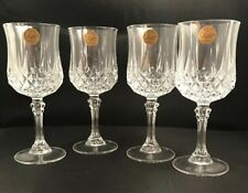 """Two Boxes Of CRISTAL D'ARQUES LONGCHAMP CRYSTAL  WINE GLASSES - 7 1/2"""" TALL NIB"""