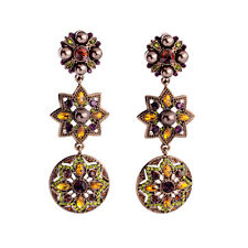 Costume Fashion Earrings Clips on Pearl Brown Amber Long Rond Star Vintage J4