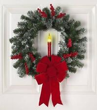 Elegant Christmas Door Wreath with Lighted Candle and Berries NEW