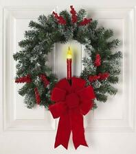 Elegant Christmas Door Wreath with Lighted Candle and Berries