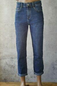 ♥️ Damen Mom Fit High Waist Karotten Jeans Hose Sehr bequem Basic  Blau *890