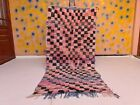 Authentic Vintage Boujad Moroccan Handmade Rug 4ft3x6ft10 Bohemian Checkered Rug