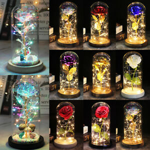 LED Light Enchanted Galaxy Rose Flower In Glass Dome Valentine's Mother Day Gift
