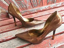 *cOppEr LeAtHeR Sz 9 Metallic Pointy Toe CARRIE Stiletto Heels PUMPs GuESS