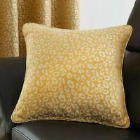 "Leopard Ochre (Mustard) Luxury Woven Sofa Cushion Covers,17""(43cm) x 17"" (43cm)"