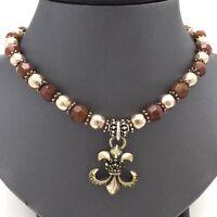 Vintage Sterling Silver Carnelian Gold Tone Faceted Bead Fleur De Lis Necklace