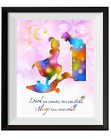 Uhomate Princess Jasmine and Aladdin and Jasmine Print Nursery Wall Decor C079