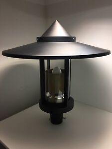 Luminaire tete de mat lampadaire exterieur ALBERT 125w G27 noir mat