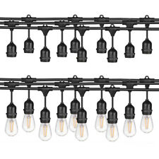 24FT / 48FT LED Outdoor Waterproof Commercial Grade Patio String Lights Bulbs