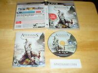 ASSASSIN'S CREED III game complete in case w/ manual -Playstation 3 PS3