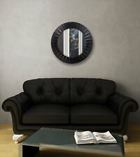 "Wall Mount Mirror Large Ribbed Frame Round Modern Display Black 20"" Gift"