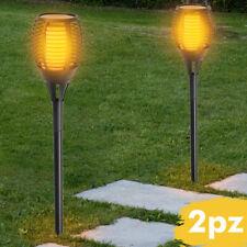 2 Lampade Giardino Effetto Fuoco 79cm Ricarica Solare Fiaccola Torcia Luce LED