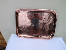 STUNNING ARTS AND CRAFTS COPPER HEAVY HAND HAMMERED TRAY WITH BORDER DETAIL